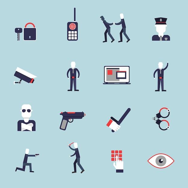 Die flachen ikonen des sicherheitsbeamten, die mit dem überwachungskamerahandschellenschutz eingestellt wurden, lokalisierten vektorillustration Kostenlosen Vektoren