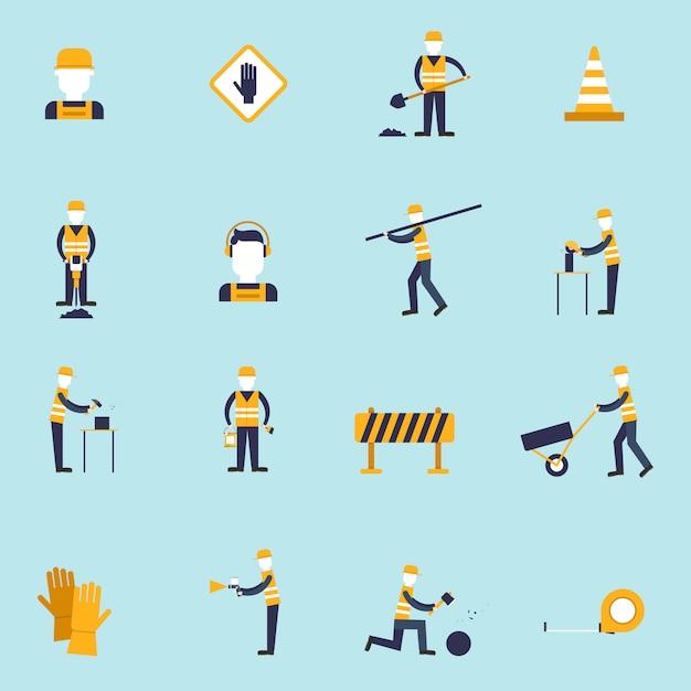 Die flachen ikonen des straßenarbeiters, die mit schaufelkegelhammer eingestellt wurden, lokalisierten vektorillustration Kostenlosen Vektoren