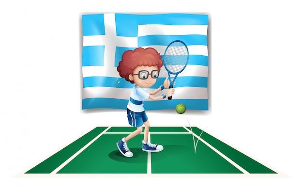Die flagge griechenlands und der tennisspieler Kostenlosen Vektoren
