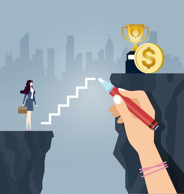 Die geschäftsfrau steigt die treppe hoch, die von einer großen hand gezeichnet wird Premium Vektoren
