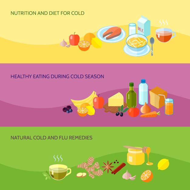 Die gesunde lebensmittelfahne, die mit nahrung und diät für das kalte essen während der natürlichen grippeabhilfen der kalten jahreszeit eingestellt wurde, lokalisierte vektorillustration Kostenlosen Vektoren