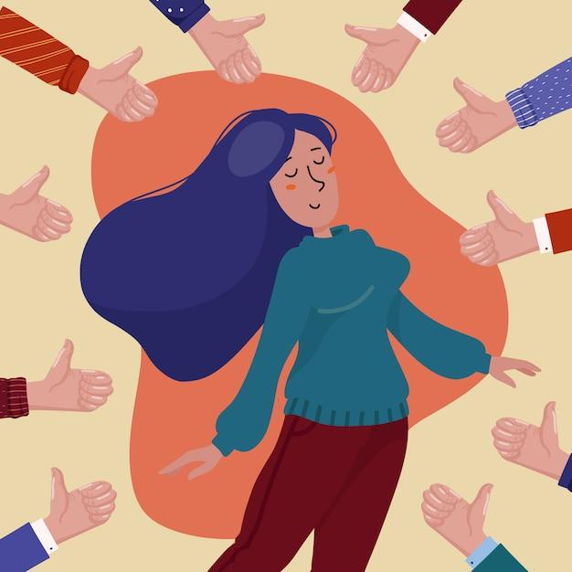 Die glückliche junge hübsche frau, die durch die hände zeigen daumen umgeben wird, up geste, konzept der allgemeinen zustimmung, erfolg, leistung und positives feedback Premium Vektoren