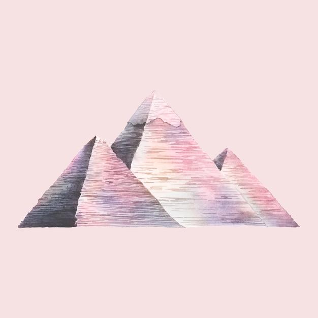 Die großen pyramiden von gizeh gemalt von aquarell Kostenlosen Vektoren