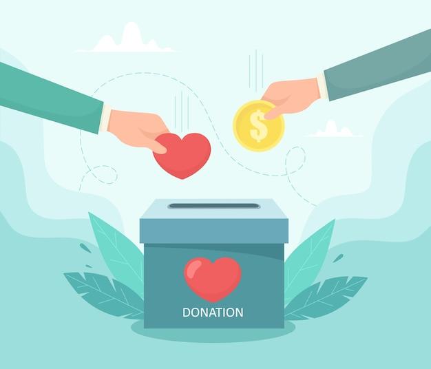 Die hand legt geld und eine münze in die spendenkiste. das konzept der nächstenliebe und der fürsorge für menschen. illustration im flachen stil. Premium Vektoren