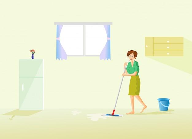 Die haushälterin putzt den boden im haus mit einem kühlschrank und einem fenster Premium Vektoren