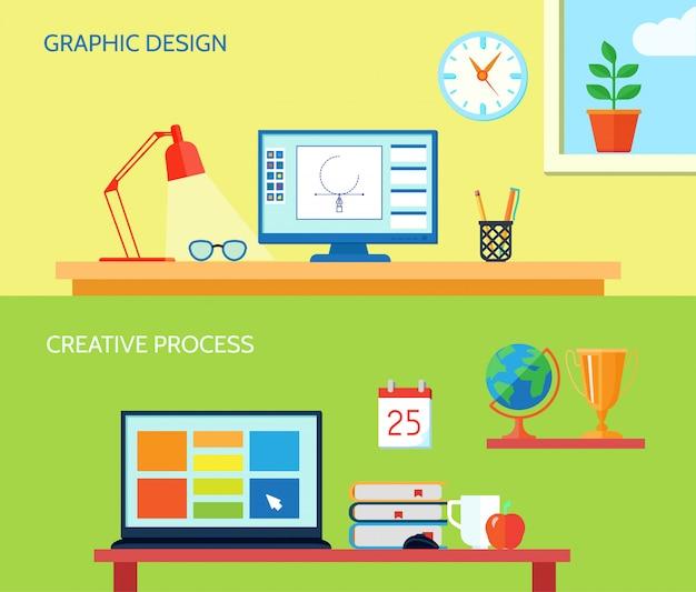 Die horizontale fahne des grafikdesignerarbeitsplatzes, die mit kreativen prozessinnenelementen eingestellt wurde, lokalisierte vektorillustration Kostenlosen Vektoren