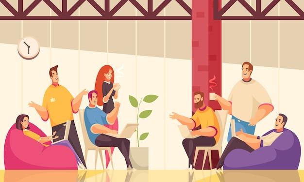 Die horizontale illustration coworking mit gruppe kreativen angestellten besprechen allgemeine geschäftsaufgabe über kaffee im büro des offenen raumes Kostenlosen Vektoren