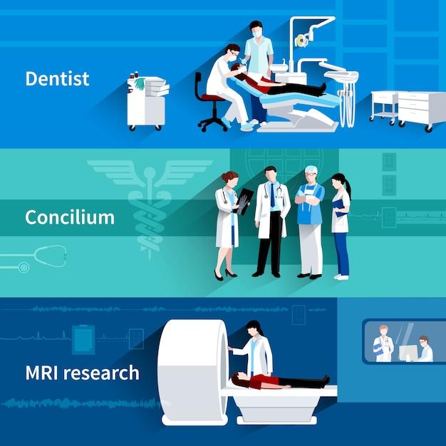 Die horizontalen fahnen des professionellen conciliums 3 der medizinischen behandlung, die mit zahnarzt und mri eingestellt wurden, scannen zusammenfassung lokalisierte vektorillustration Kostenlosen Vektoren