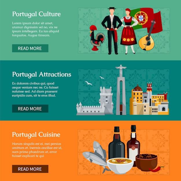 Die horizontalen flachen fahnen, die elemente von portugal-kulturanziehungskräften und von küche darstellen, lokalisierten vektorillustration Kostenlosen Vektoren