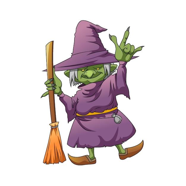 Die illustration der grünen elfenhexe mit dem langen nagel und dem magischen besen mit dem lila kostüm Premium Vektoren