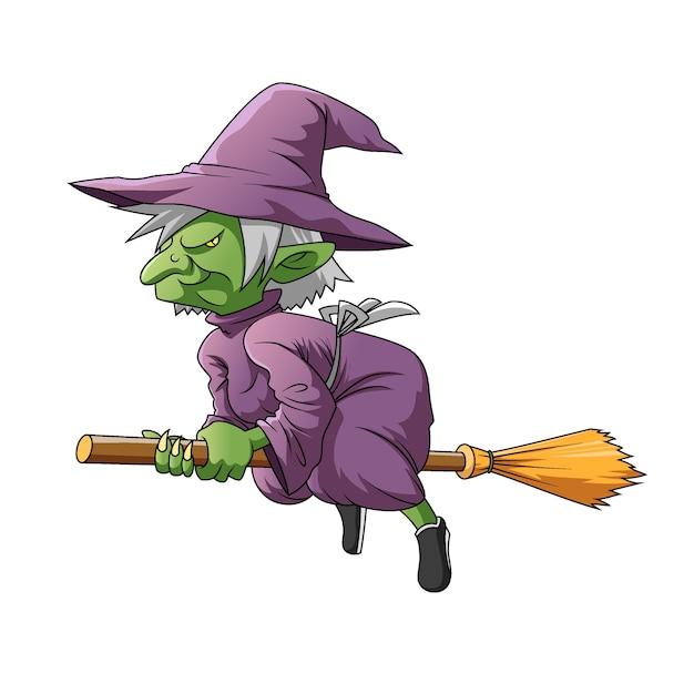 Die illustration der grünen elfenhexe mit dem lila kostüm und dem magischen besen zum fliegen Premium Vektoren