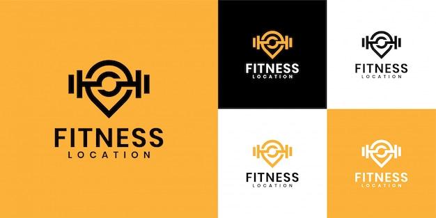 Die inspiration für das logo besteht darin, das fitnessstudio-logo und das standort-logo zu kombinieren Premium Vektoren