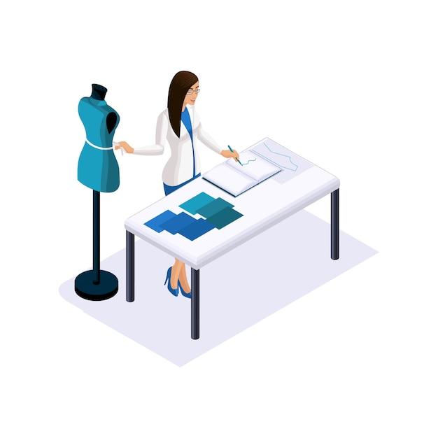 Die isometrie eines schneiders, der designer nimmt messungen vor, verwendet eine schaufensterpuppe, um im studio, einer werkstatt, hochmodische kleidung herzustellen. der unternehmer arbeitet für sich Premium Vektoren