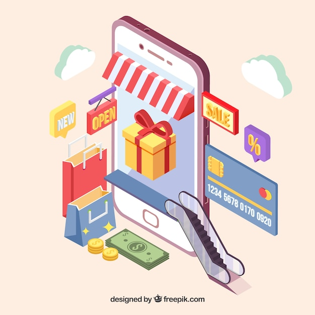 Die isometrische ansicht einer shopping-anwendung Kostenlosen Vektoren
