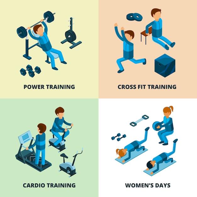 Die isometrische eignung, sportathletenleute, die energie und herz machen, trainieren aerob in der turnhalle Premium Vektoren