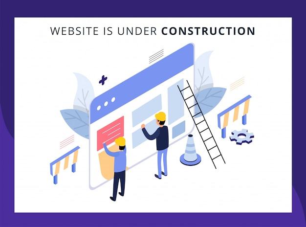Die isometrische landing page der website befindet sich im aufbau Premium Vektoren