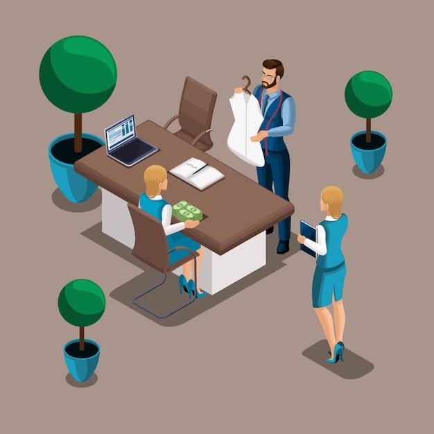 Die isometrische managerin der bank gibt eine menge geld aus, um ein eigenes geschäft für einen schneider zu eröffnen. unternehmer, arbeiten sie für sich Premium Vektoren