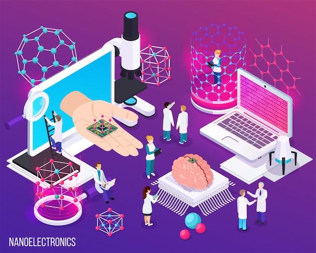 Die isometrische zusammensetzung der nanoelektronik mit symbolen zeigte wissenschaftliche errungenschaften in der mikrobiologie und der modernen medizin Kostenlosen Vektoren