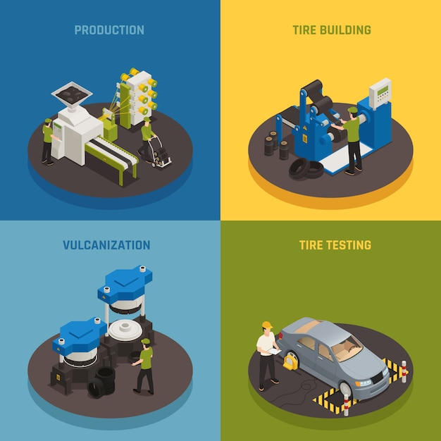 Die isometrische zusammensetzung der reifenproduktion wird mit industrieanlagen und der erstellung und prüfung von produkten durch das personal festgelegt Kostenlosen Vektoren
