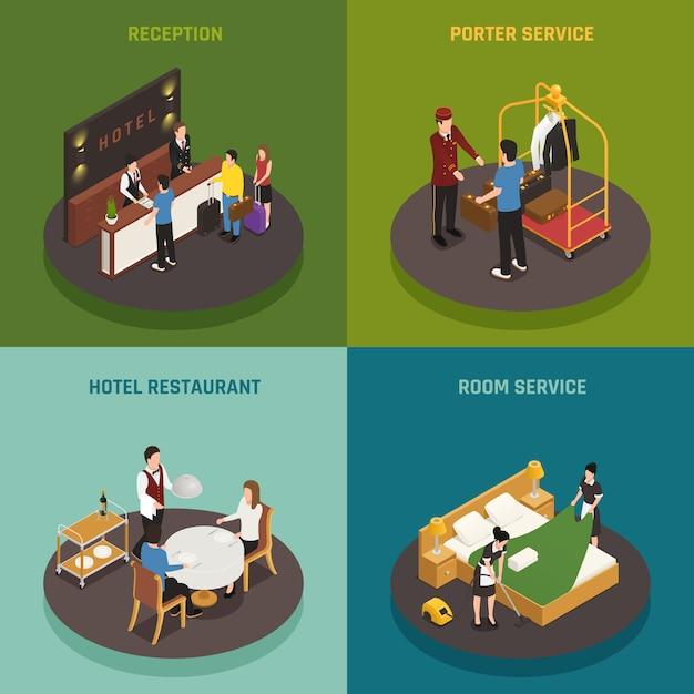 Die isometrische zusammensetzung des hotelpersonals umfasst ein portier-restaurant an der rezeption und einen zimmerservice Kostenlosen Vektoren