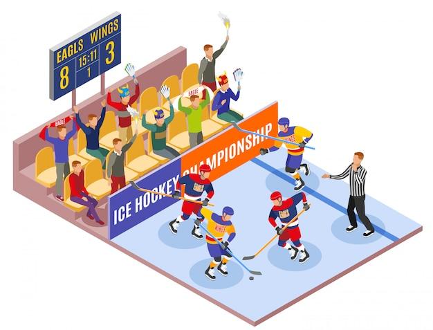 Die isometrische zusammensetzung des wintersports illustrierte die eishockey-meisterschaft mit spielern auf dem spielfeld und zuschauern in der fan-zone Kostenlosen Vektoren