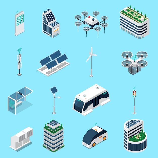 Die isometrischen ikonen der intelligenten stadt, die mit transport- und sonnenenergiesymbolen eingestellt wurden, lokalisierten illustration Kostenlosen Vektoren