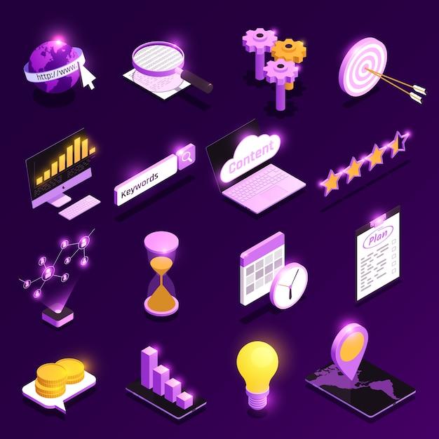 Die isometrischen ikonen des netzverkehrs, die mit inhaltsoptimierungssymbolen eingestellt wurden, lokalisierten illustration Kostenlosen Vektoren