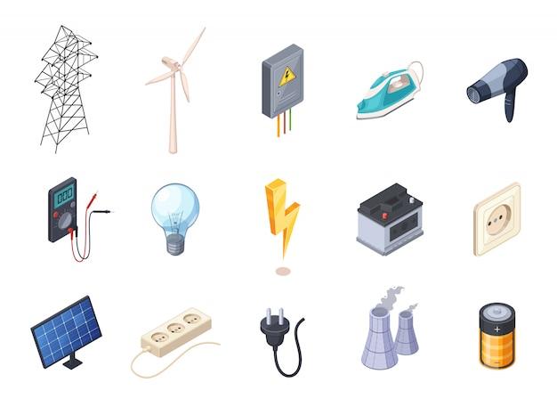 Die isometrischen ikonen des stroms, die mit sockel und batterie eingestellt wurden, lokalisierten vektorillustration Kostenlosen Vektoren