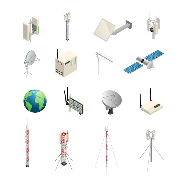 Die isometrischen symbole, die von drahtlosen kommunikationsgeräten eingestellt werden, mögen türme satellitenantennen, router und o Kostenlosen Vektoren