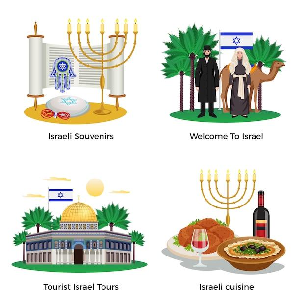 Die israel-reisekonzeptikonen, die mit ausflügen und küchesymbolebene eingestellt wurden, lokalisierten illustration Kostenlosen Vektoren