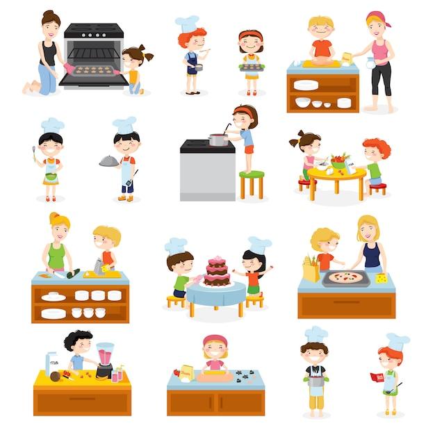 Die karikaturkinder, die satz mit den charakterküchen-küchenausrüstungs- und -nahrungsmittelbildern der kinder und der flachen flachen charaktere kochen, vector illustration Kostenlosen Vektoren