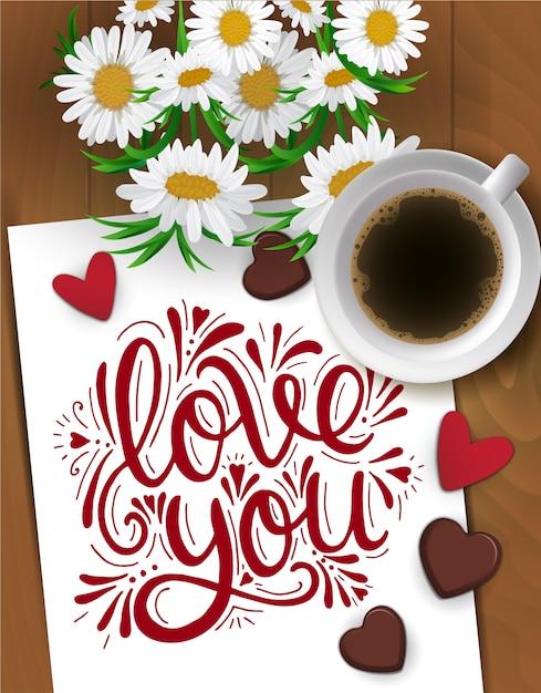 Die karte des glücklichen valentinsgrußes mit tasse kaffee, kamillenblumenstrauß, schokolade und beschriftung auf holz Premium Vektoren