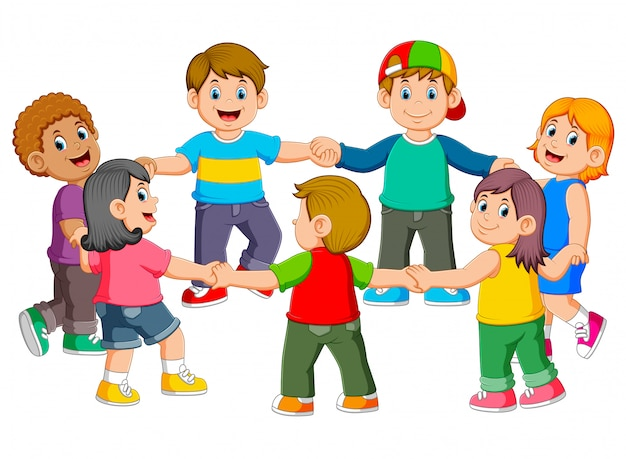 Die kinder halten sich gegenseitig fest, um eine runde zu machen Premium Vektoren