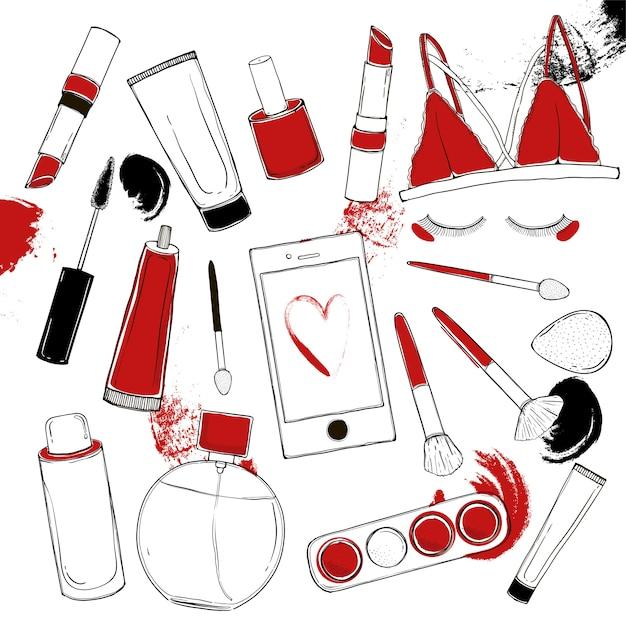 Die kosmetikvektormode, die mit eingestellt wird, bilden künstlergegenstände. Premium Vektoren