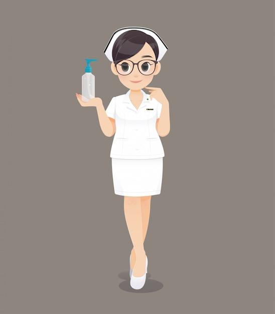 Die krankenschwester, die handwaschgel hält. karikaturärztin oder -krankenschwester, die braune gläser in einer weißen uniform tragen Premium Vektoren