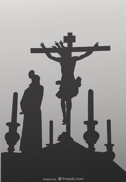 Die kreuzigung ritual vektor-illustration Kostenlosen Vektoren