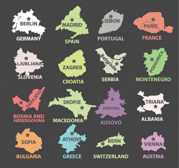 Die länder und ihre hauptstädte design Kostenlosen Vektoren