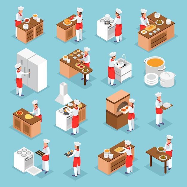 Die leute, die italienische teller und isometrische ikonen der kücheninneneinzelteile kochen, stellten lokalisiert auf blauer illustration des hintergrundes 3d ein Kostenlosen Vektoren