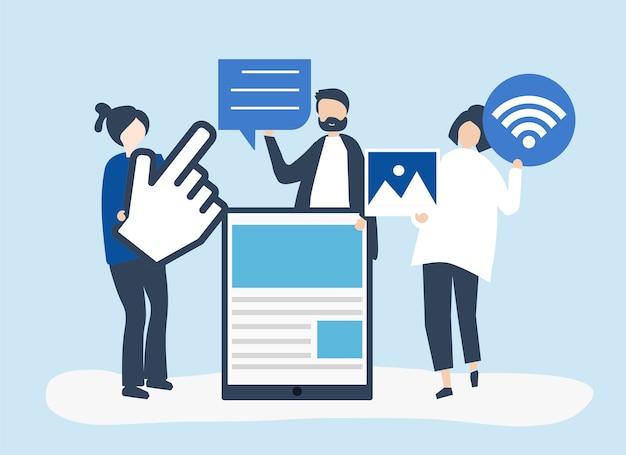 Die leute, die verschiedene ikonen tragen, bezogen sich auf online-medien Kostenlosen Vektoren