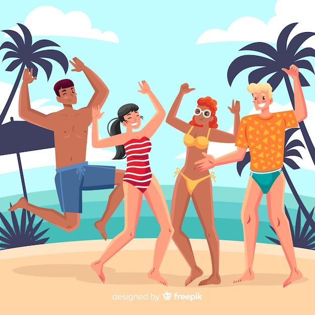 Die leute genießen den sommer Kostenlosen Vektoren