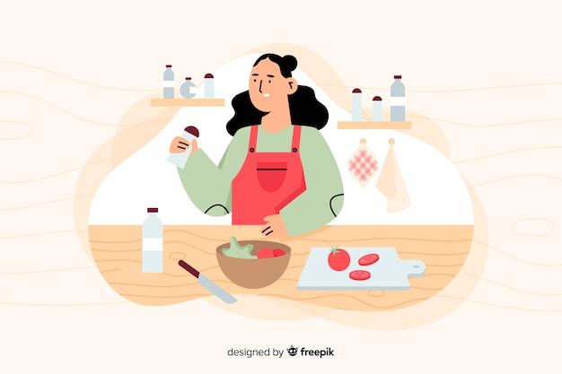 Die leute kochen in der küche Kostenlosen Vektoren