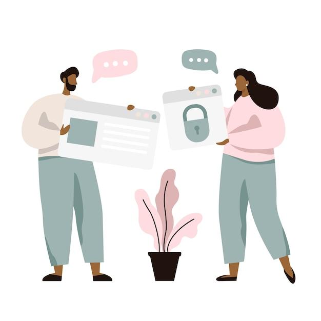 Die leute reden über den schutz persönlicher daten und die cybersicherheit. idee der digitalen informationssicherheit Premium Vektoren