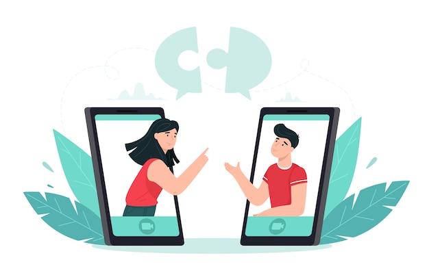 Die leute setzen puzzleteile zusammen. konzeptdarstellung der zusammenarbeit und teamarbeit online über eine videokonferenzanwendung. im flachen stil. Premium Vektoren