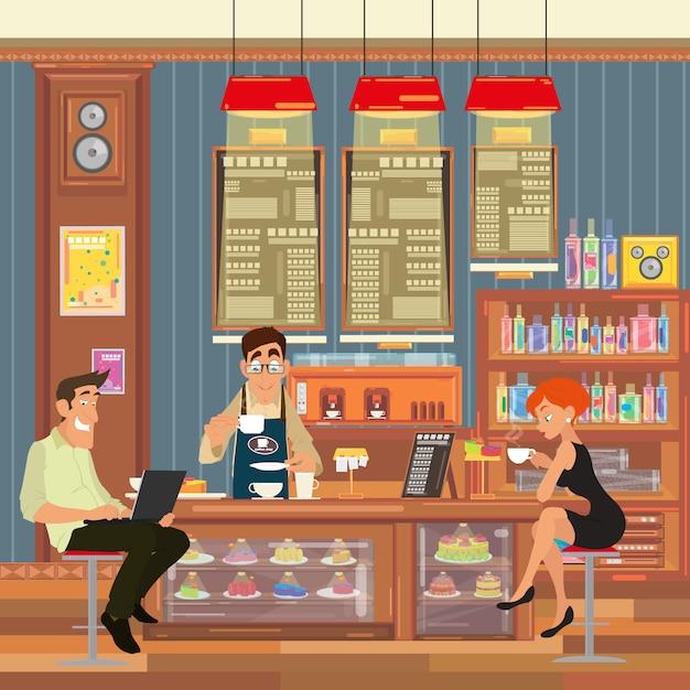 Die leute sitzen an der bar und trinken kaffee. Premium Vektoren