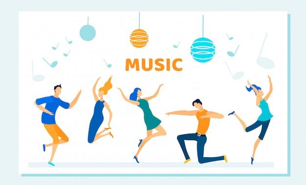 Die leute tanzen auf disco party, musik rhythmus, freizeit Premium Vektoren