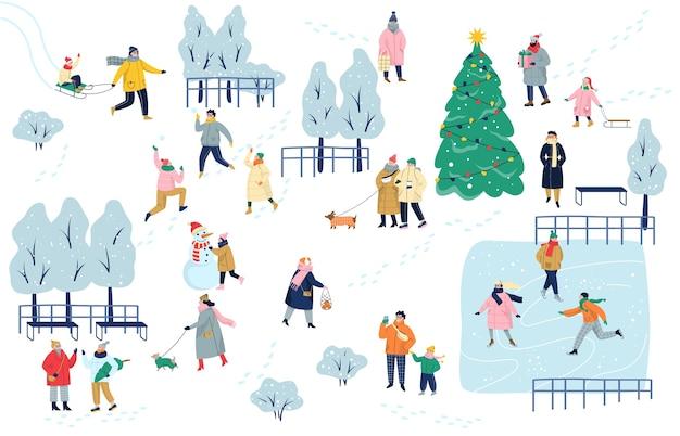 Die leute verbringen im winter zeit mit dem outoot. winterpark. kalte jahreszeit, Premium Vektoren
