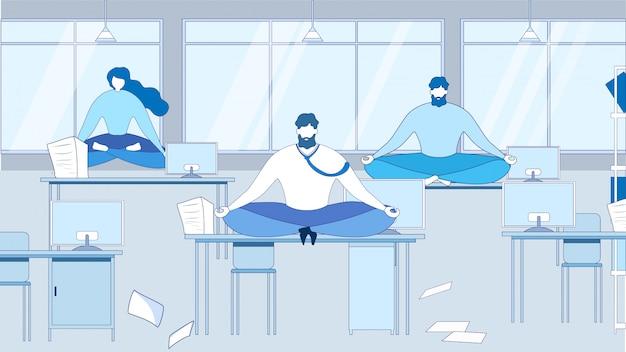 Die meditierenden karikatur-leute sitzen auf tabelle am büro-arbeitsplatz Premium Vektoren