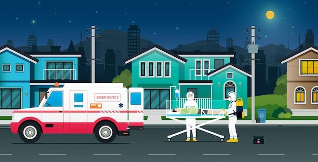 Die medizinische abteilung brachte einen krankenwagen mit, um covit-19-patienten zu hause abzuholen. Premium Vektoren
