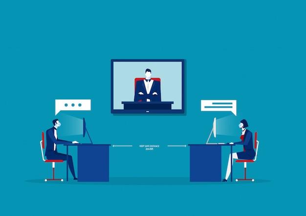 Die mitarbeiter des geschäftsbüros halten den konferenzraum für besprechungen in sozialer distanz Premium Vektoren