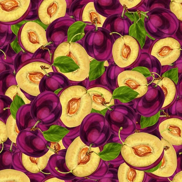 Die nahtlose pflaumenfrucht, die zur hälfte mit samenblättern und der saftigen gezeichneten skizze des fleischmusters hand geschnitten wird, vector illustration Kostenlosen Vektoren